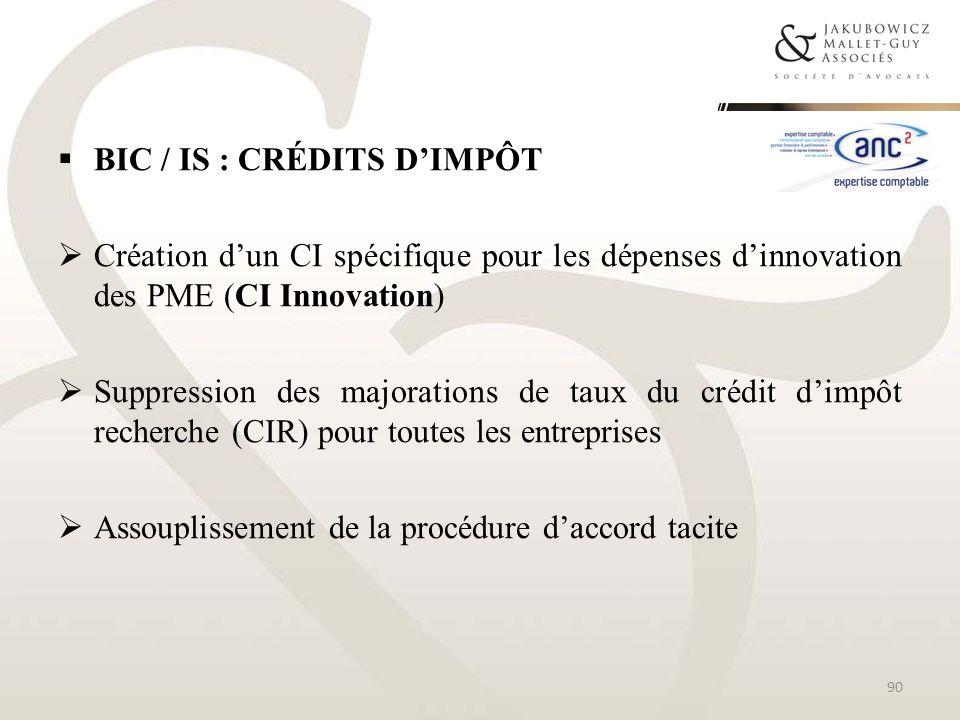 BIC / IS : Crédits d'impôt