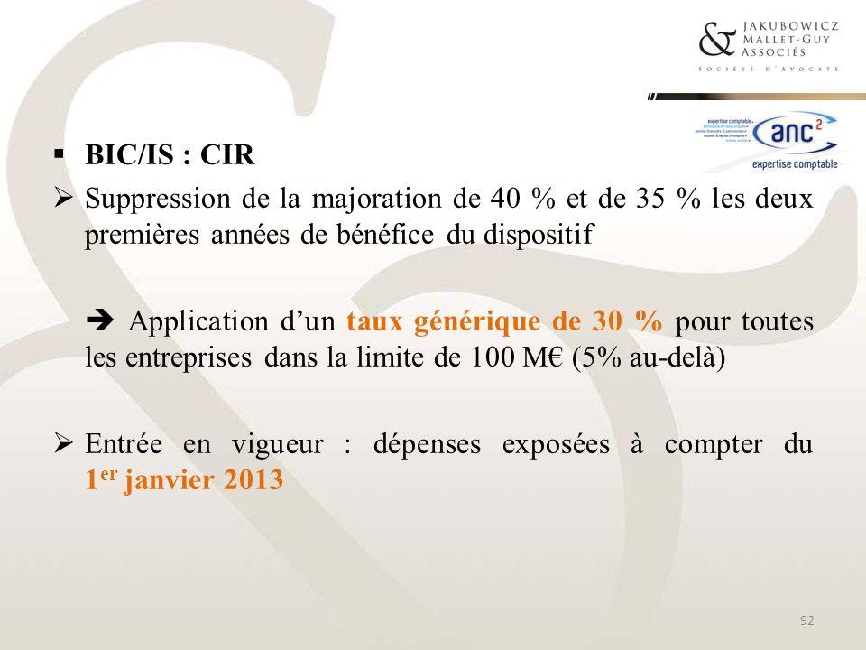 BIC/IS : CIR Suppression de la majoration de 40 % et de 35 % les deux premières années de bénéfice du dispositif.