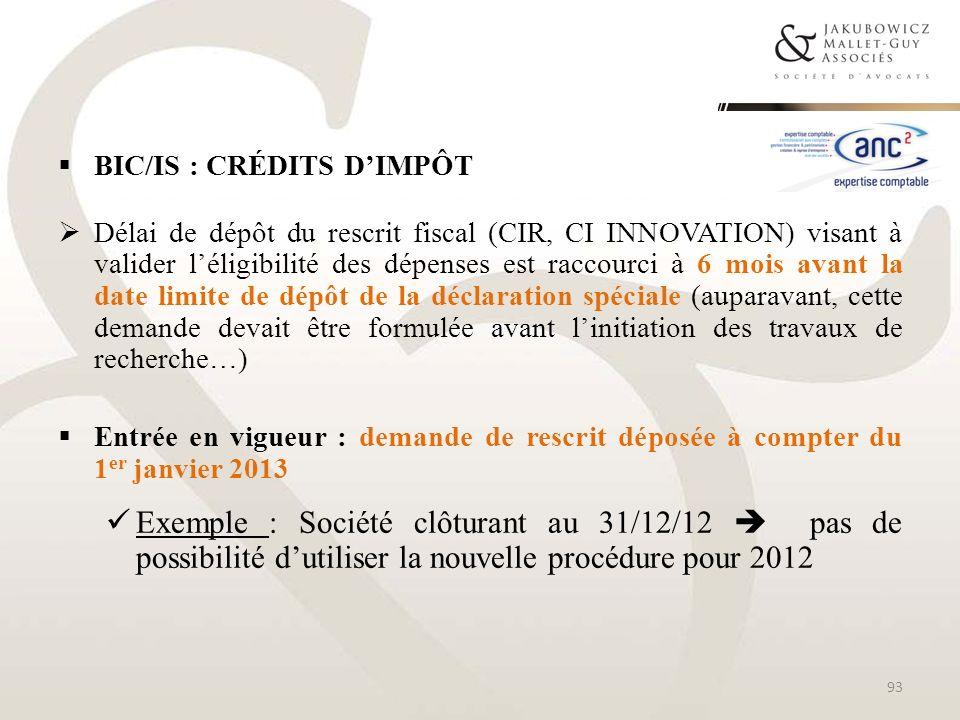 BIC/IS : Crédits d'impôt