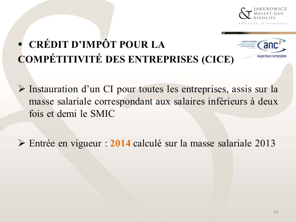 Crédit d'impôt pour lacompétitivité des entreprises (CICE)