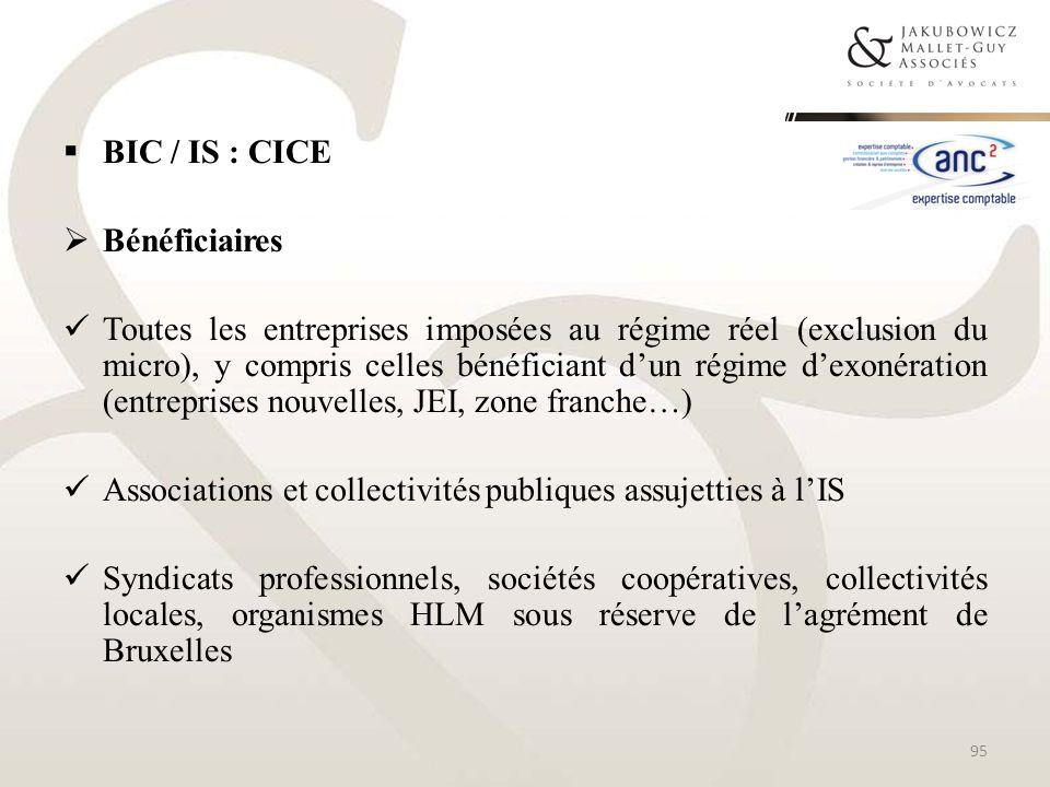 BIC / IS : CICE Bénéficiaires.