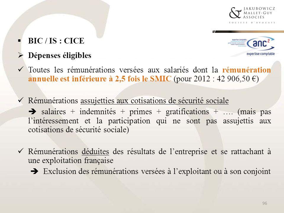 BIC / IS : CICE Dépenses éligibles.