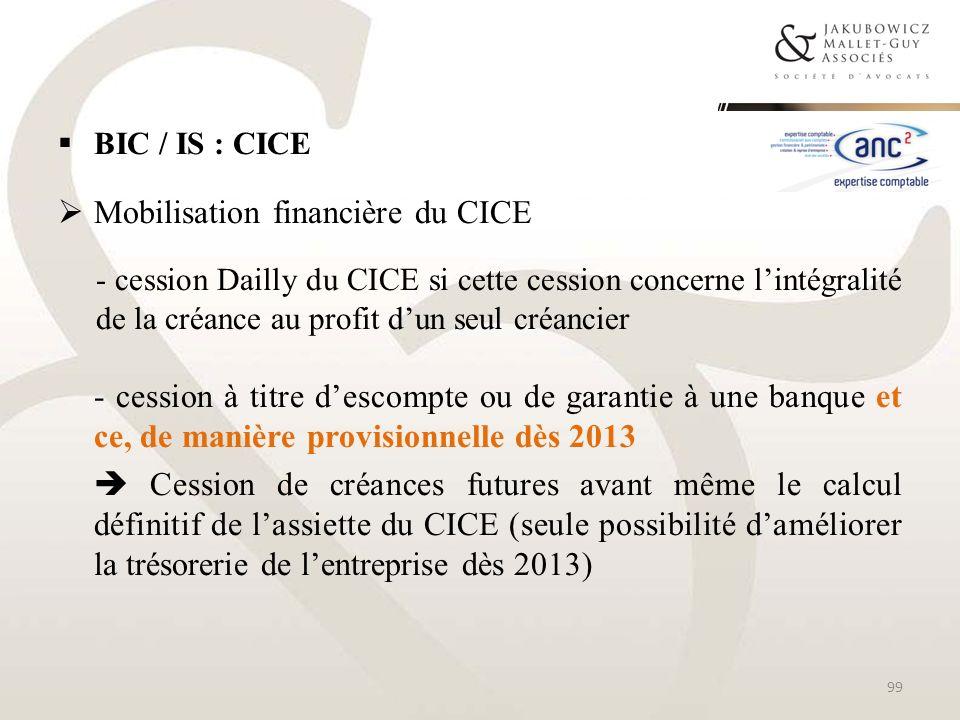Mobilisation financière du CICE