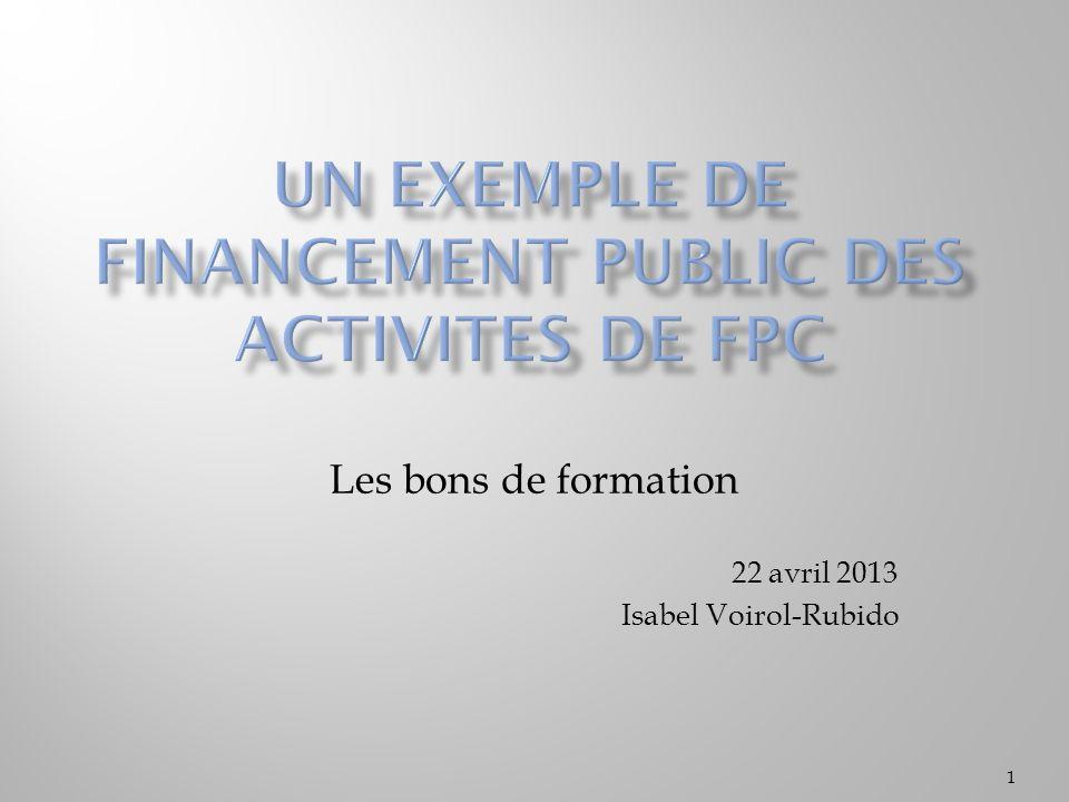 Un exemple de financement public des activites de fpc