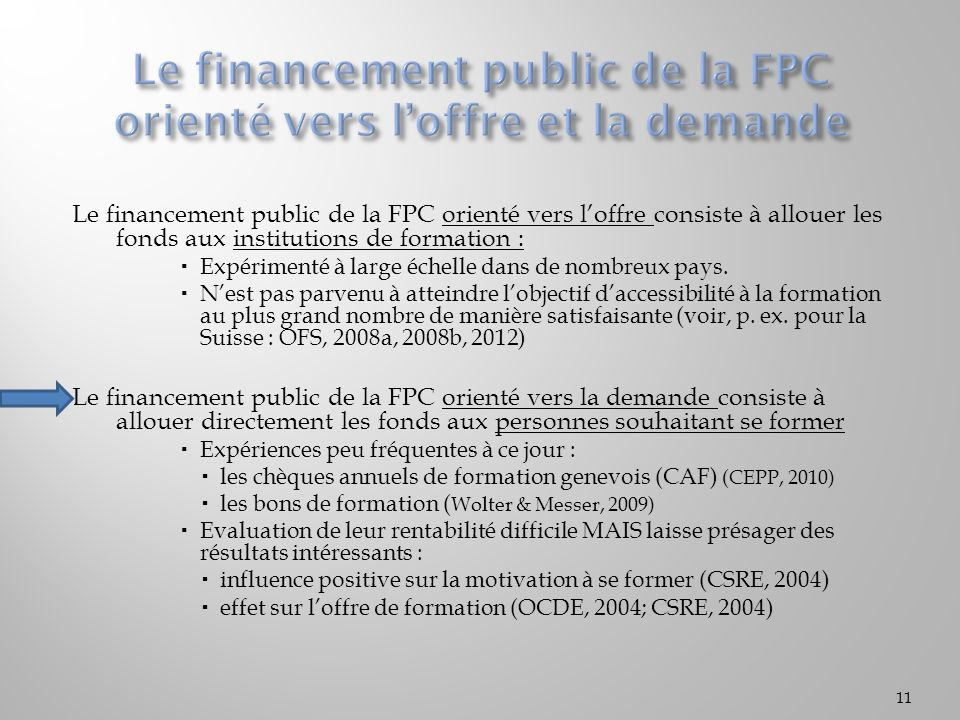 Le financement public de la FPC orienté vers l'offre et la demande