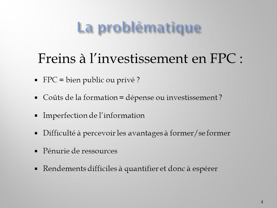 Freins à l'investissement en FPC :