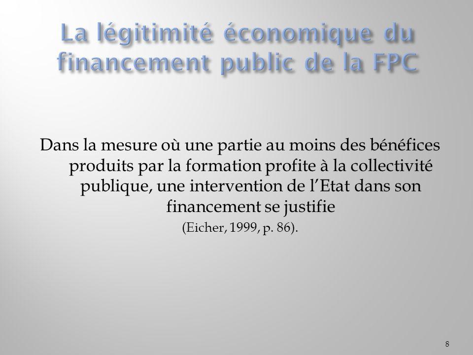 La légitimité économique du financement public de la FPC