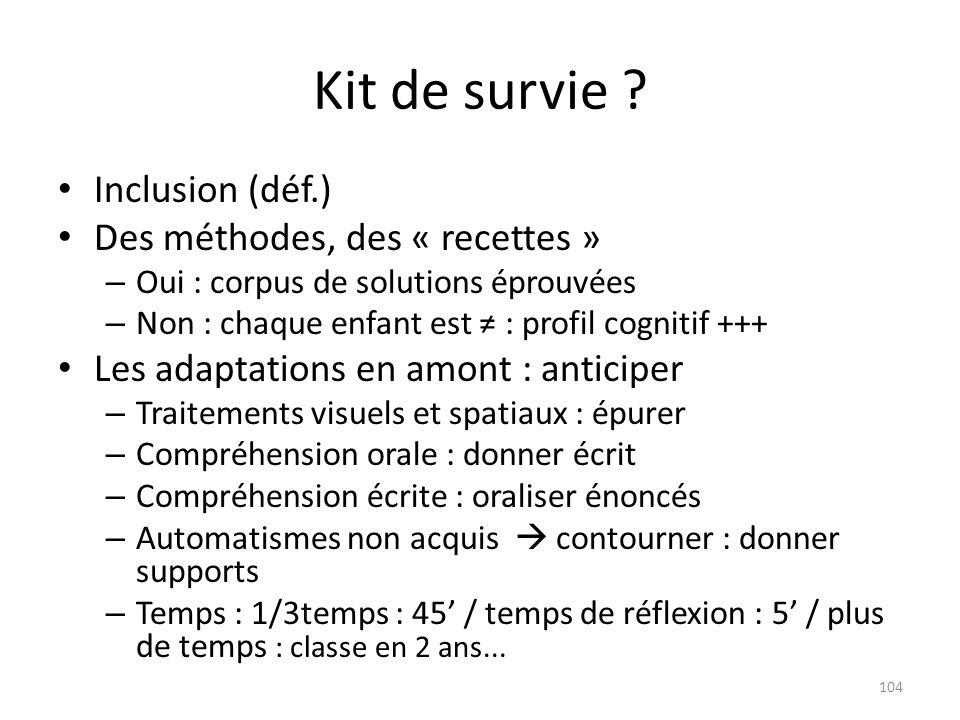 Kit de survie Inclusion (déf.) Des méthodes, des « recettes »