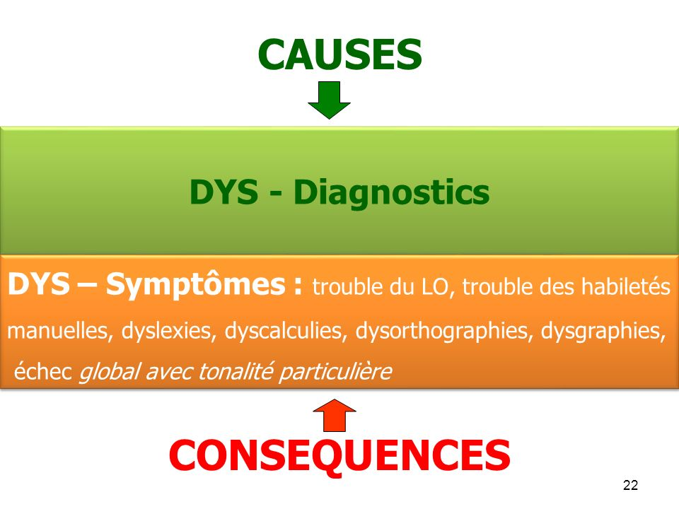CAUSES CONSEQUENCES DYS - Diagnostics