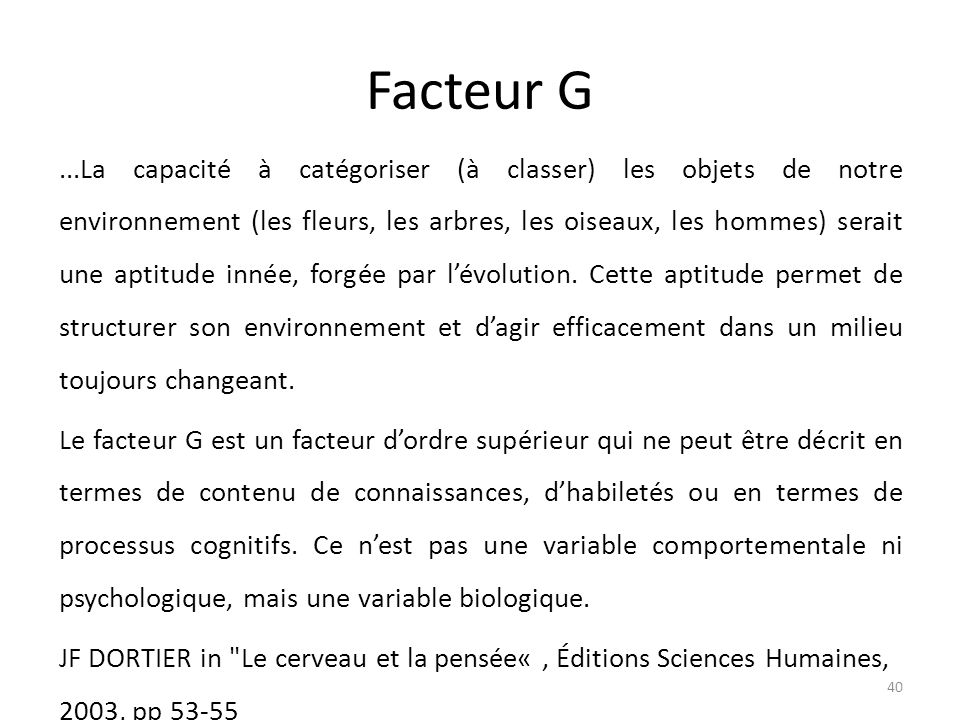 Facteur G