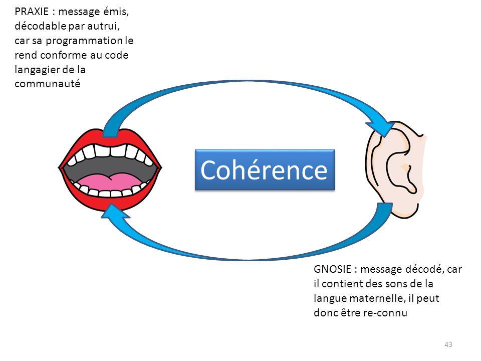 Cohérence PRAXIE : message émis, décodable par autrui,