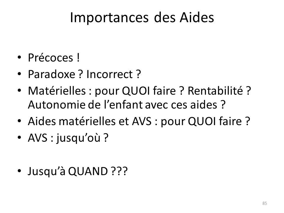 Importances des Aides Précoces ! Paradoxe Incorrect