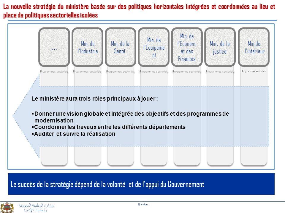La nouvelle stratégie du ministère basée sur des politiques horizontales intégrées et coordonnées au lieu et place de politiques sectorielles isolées