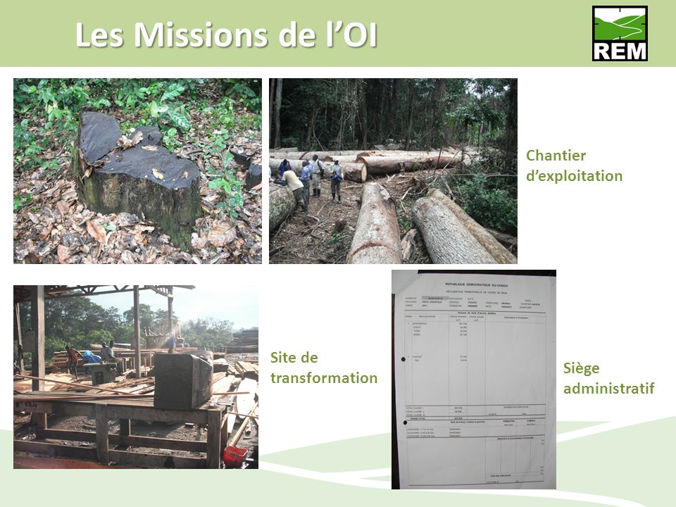 Les Missions de l'OI Chantier d'exploitation Site de transformation