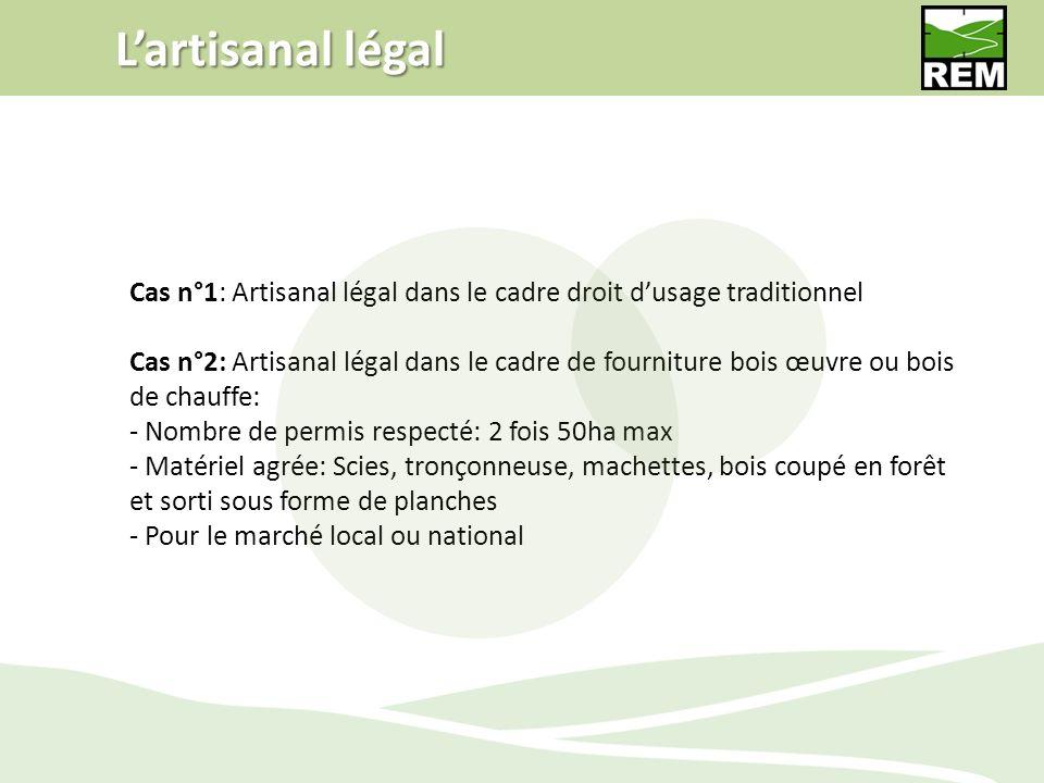 L'artisanal légal Cas n°1: Artisanal légal dans le cadre droit d'usage traditionnel.