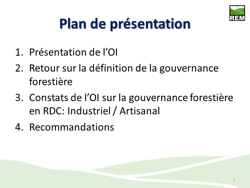 Plan de présentation Présentation de l'OI
