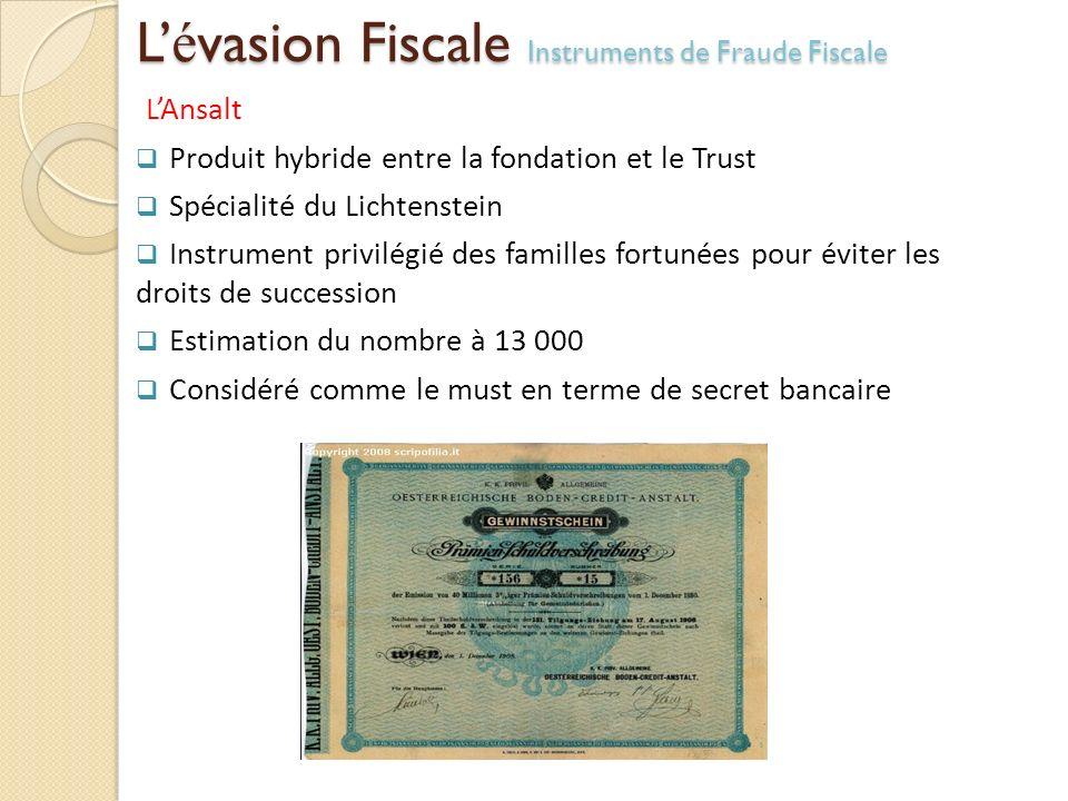 L'évasion Fiscale Instruments de Fraude Fiscale
