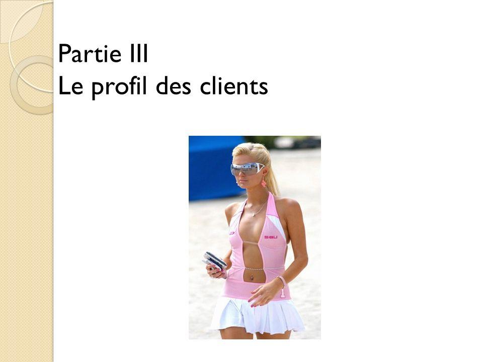 Partie III Le profil des clients
