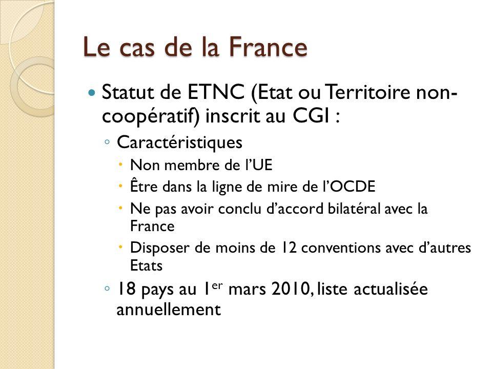 Le cas de la France Statut de ETNC (Etat ou Territoire non- coopératif) inscrit au CGI : Caractéristiques.