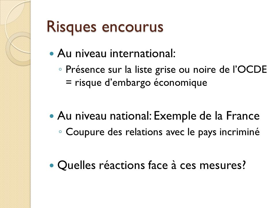 Risques encourus Au niveau international: