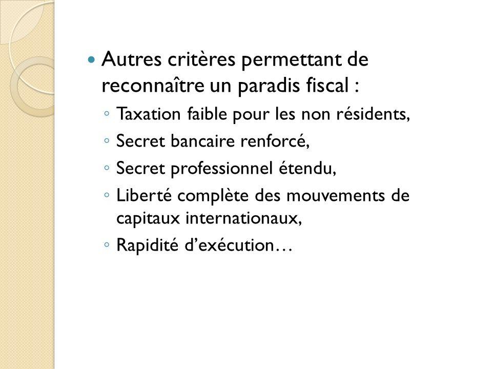 Autres critères permettant de reconnaître un paradis fiscal :