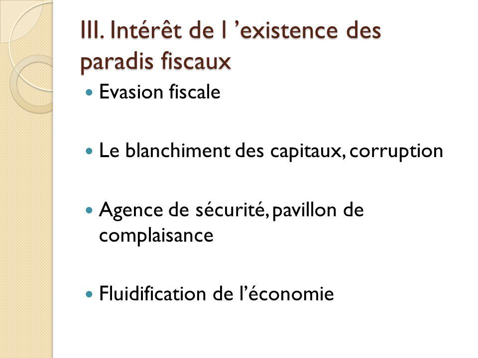 III. Intérêt de l 'existence des paradis fiscaux