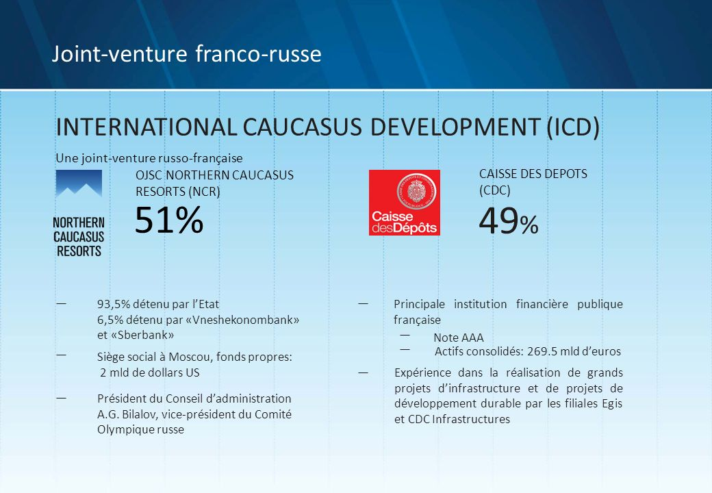51% 49% INTERNATIONAL CAUCASUS DEVELOPMENT (ICD)