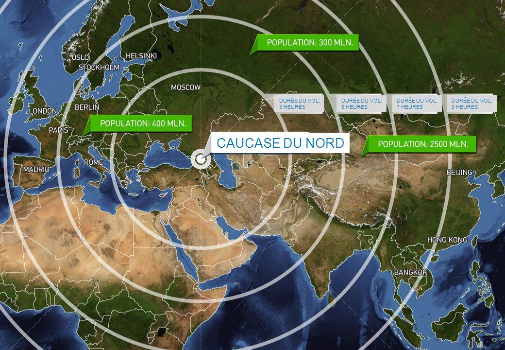 caucase du nord Durée du vol: 3 heures Durée du vol: 5 heures