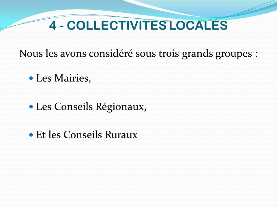 4 - COLLECTIVITES LOCALES