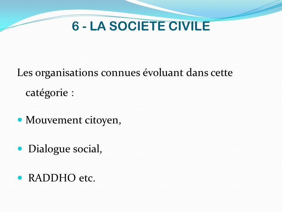 6 - LA SOCIETE CIVILE Les organisations connues évoluant dans cette catégorie : Mouvement citoyen,