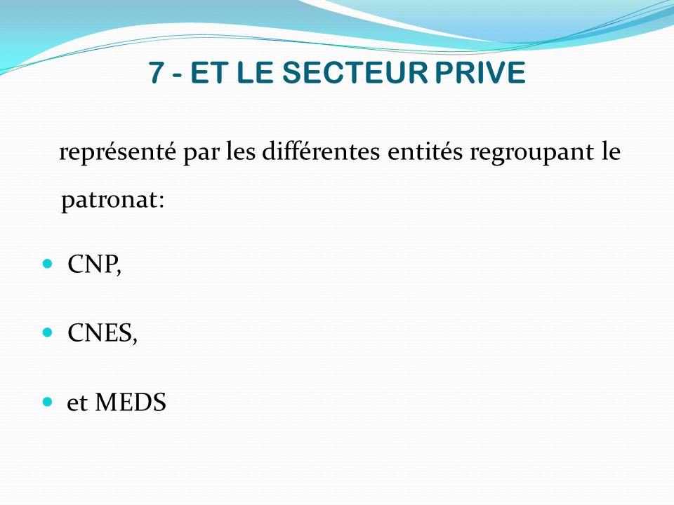 7 - ET LE SECTEUR PRIVE CNP, CNES, et MEDS