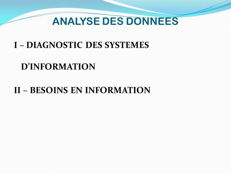 ANALYSE DES DONNEES I – DIAGNOSTIC DES SYSTEMES D'INFORMATION