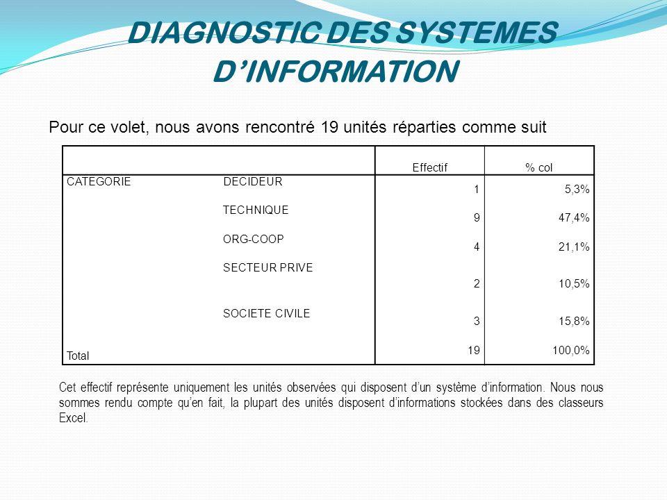 DIAGNOSTIC DES SYSTEMES D'INFORMATION