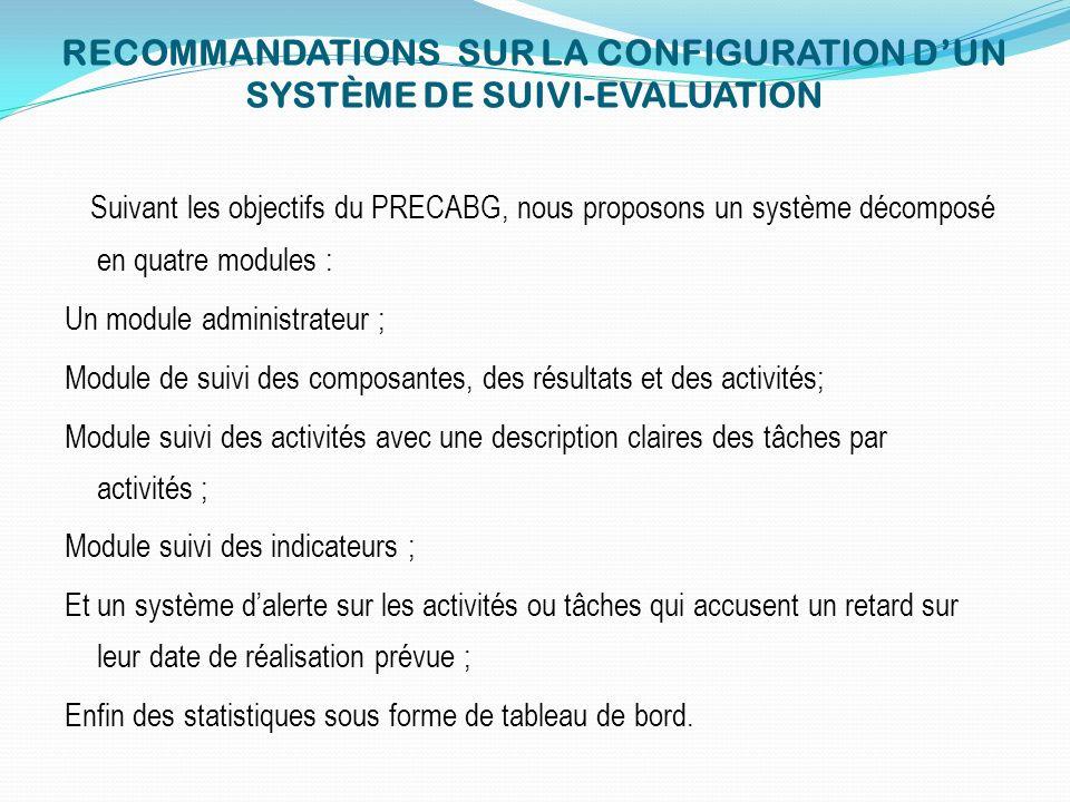 RECOMMANDATIONS SUR LA CONFIGURATION D'UN SYSTÈME DE SUIVI-EVALUATION