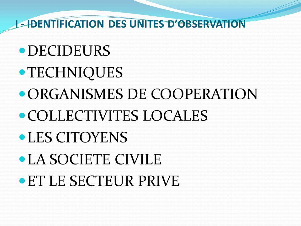 I - IDENTIFICATION DES UNITES D'OBSERVATION