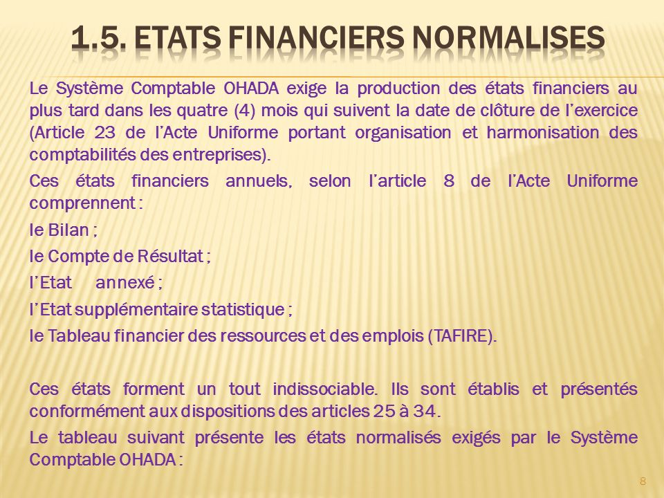 1.5. ETATS FINANCIERS NORMALISES