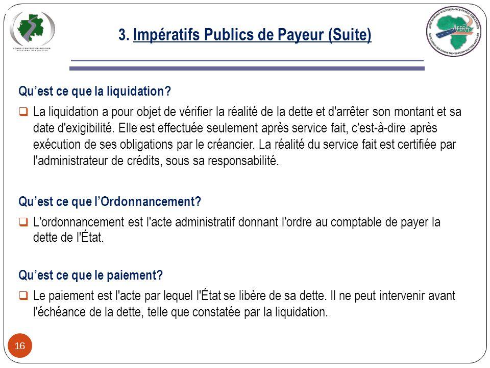 3. Impératifs Publics de Payeur (Suite)