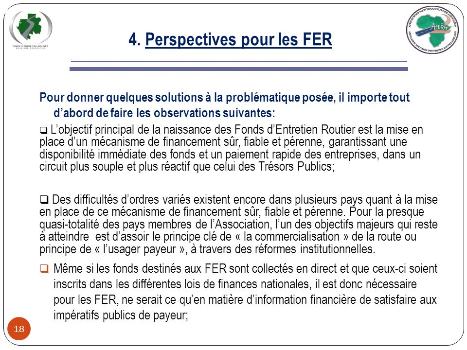 4. Perspectives pour les FER