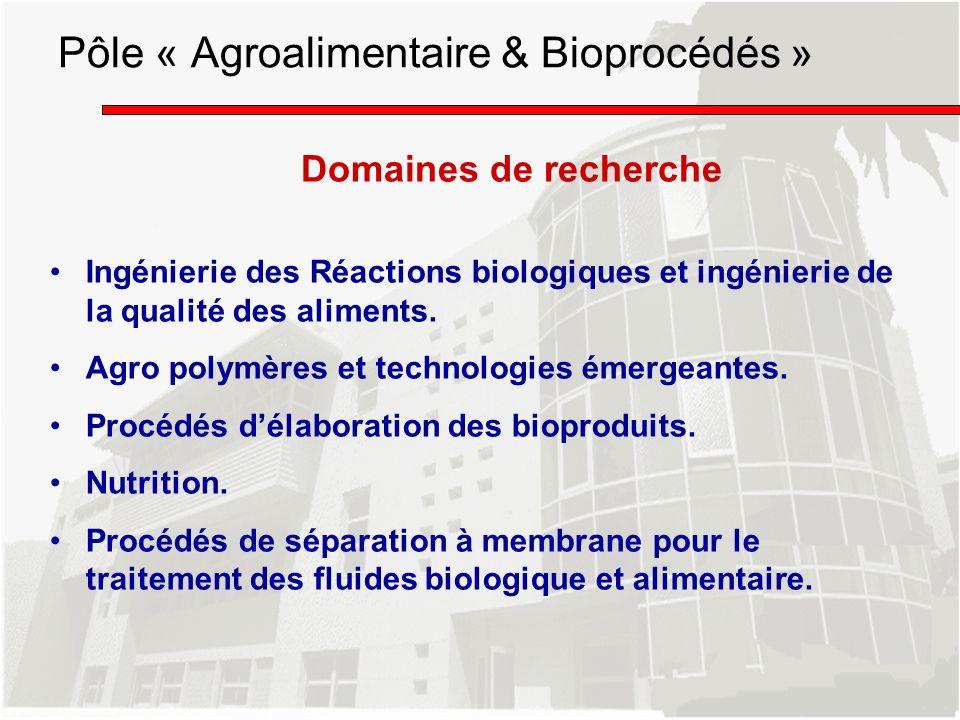 Pôle « Agroalimentaire & Bioprocédés »