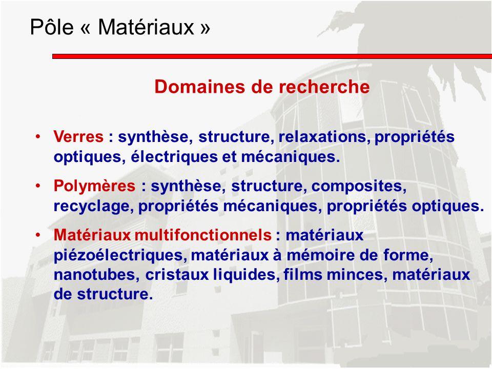 Pôle « Matériaux » Domaines de recherche