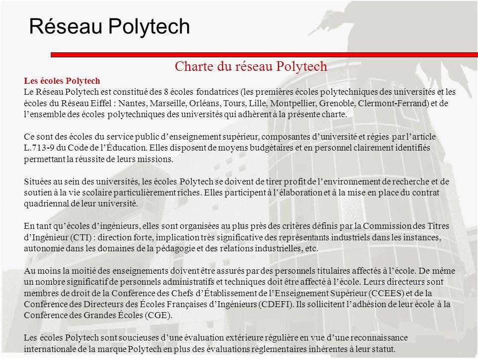 Réseau Polytech Charte du réseau Polytech Les écoles Polytech