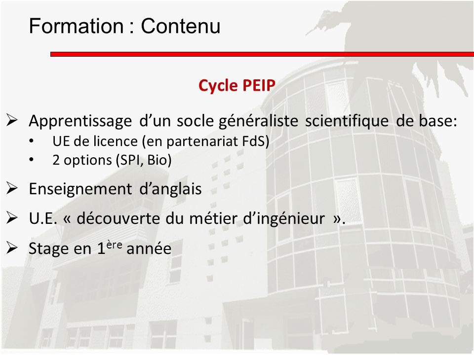 Formation : Contenu Cycle PEIP