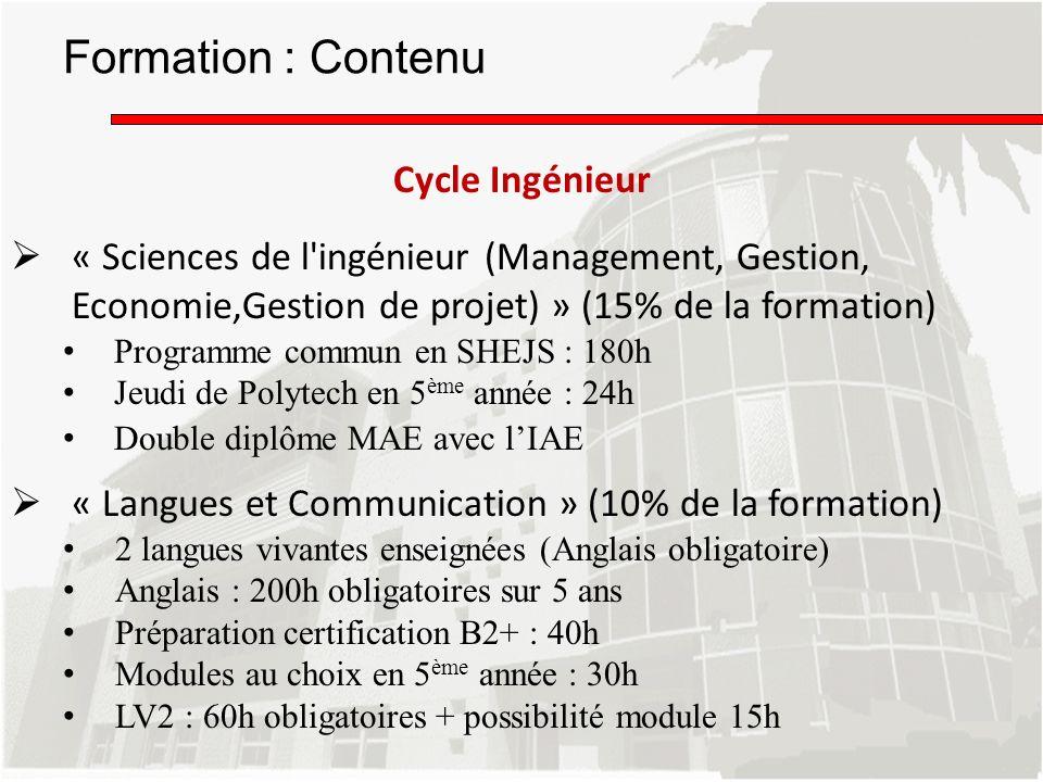Formation : Contenu Cycle Ingénieur