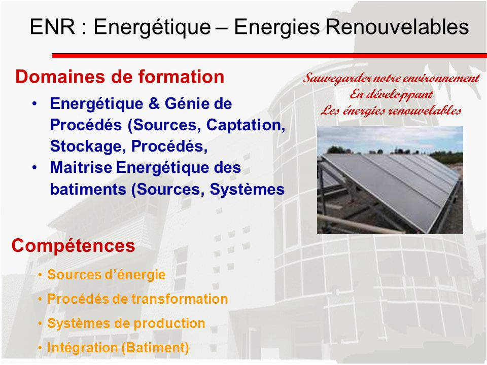 ENR : Energétique – Energies Renouvelables