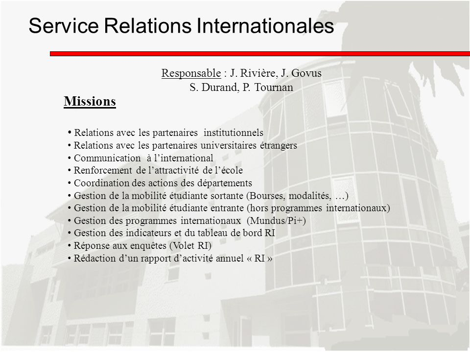 Service Relations Internationales