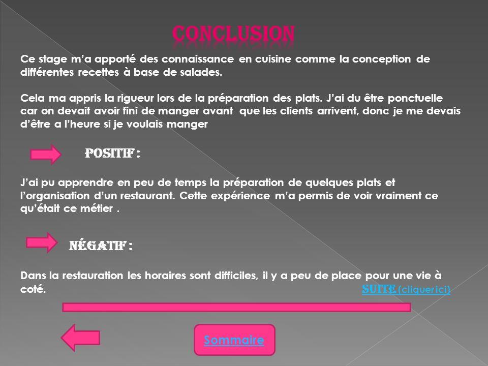Conclusion Positif : Sommaire