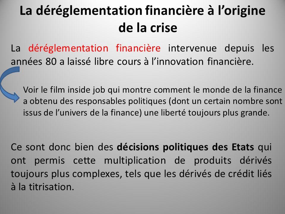 La déréglementation financière à l'origine de la crise