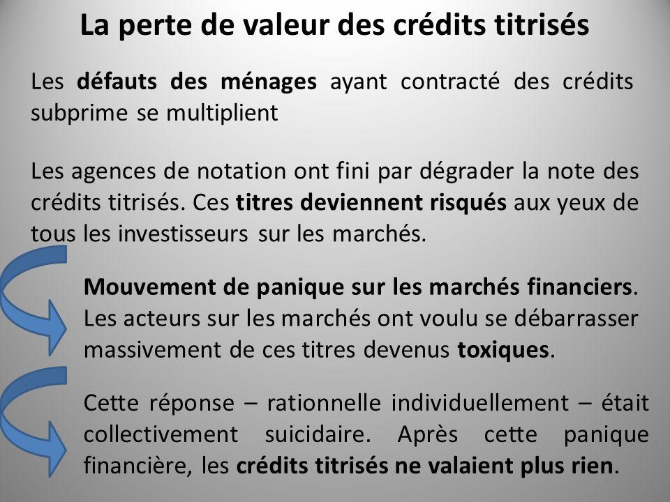 La perte de valeur des crédits titrisés