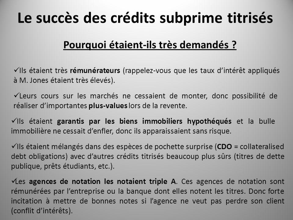 Le succès des crédits subprime titrisés
