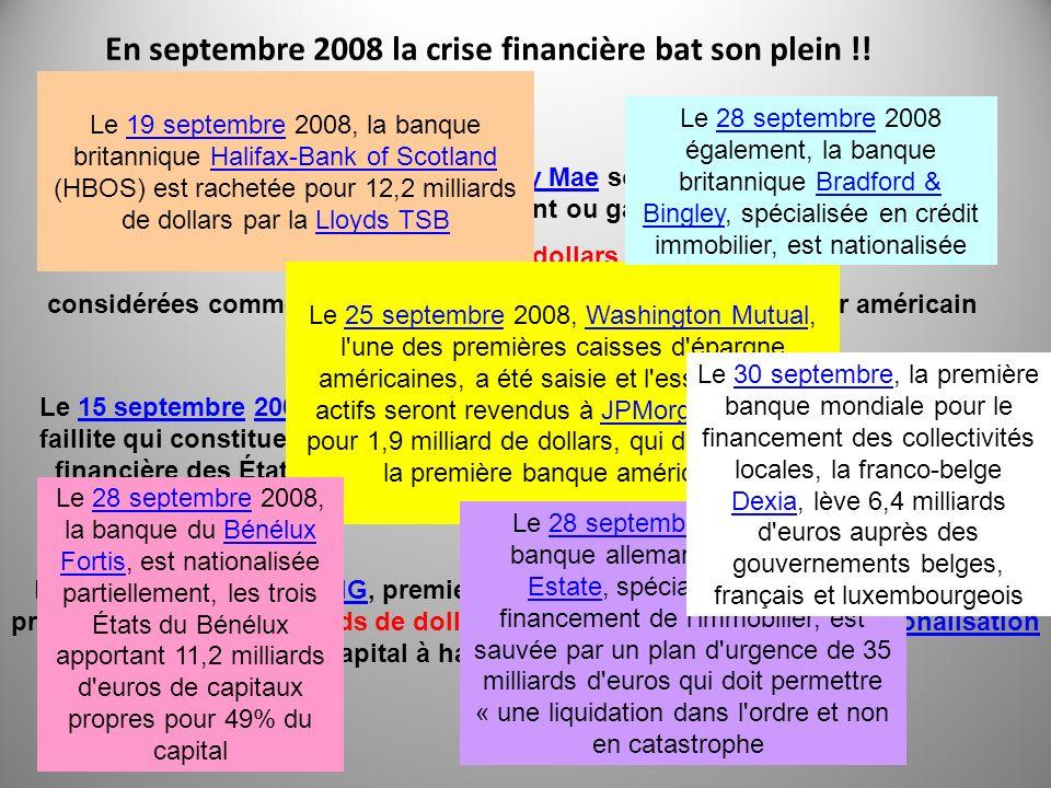 En septembre 2008 la crise financière bat son plein !!